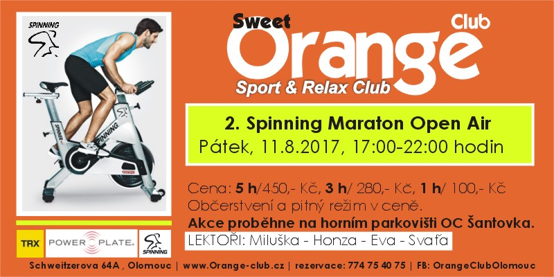 Spinning Maraton Open Air - Sweet Orange Club Olomouc